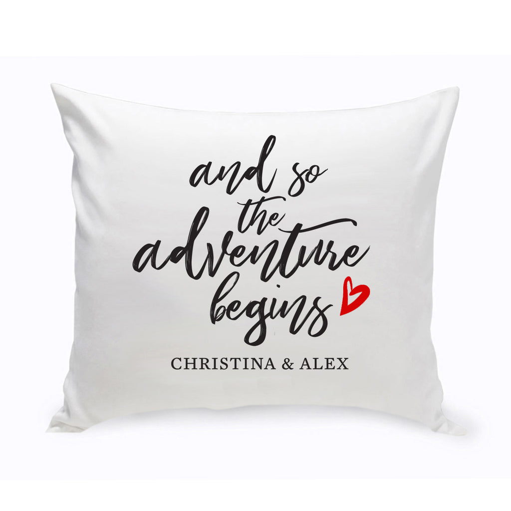 And So the Adventure Begins Personalized Throw Pillow