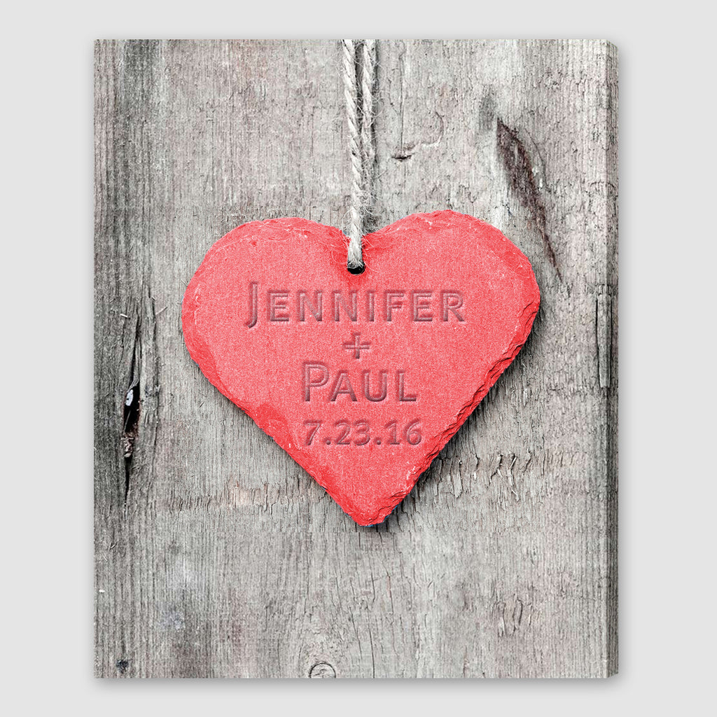 Embossed Heart Canvas Wall Art