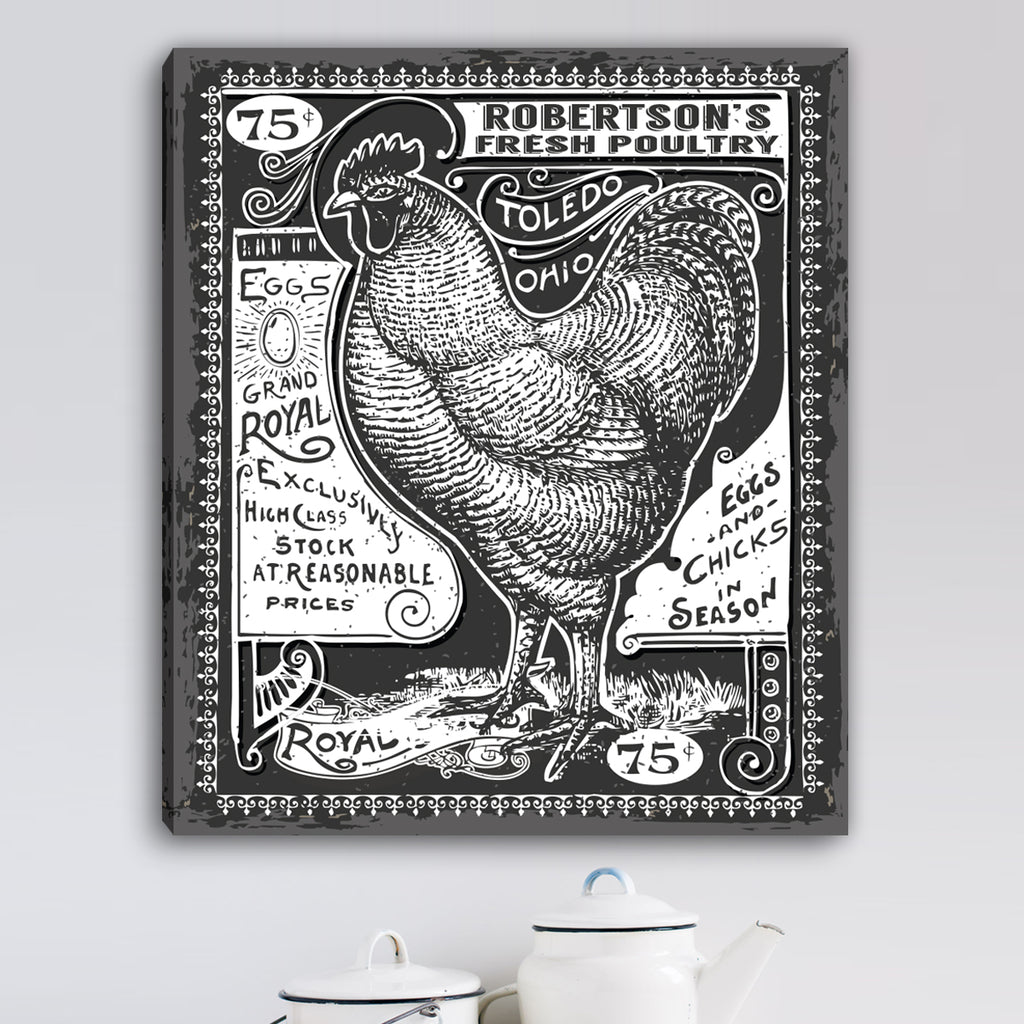 Personalized Vintage Rooster Canvas Wall Art