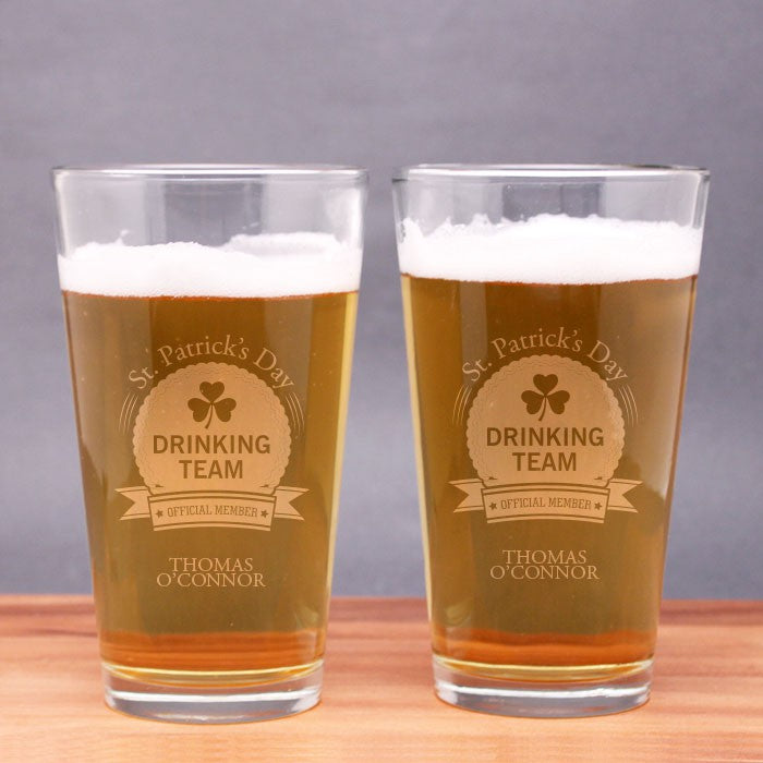 Engraved St. Patrick's Day Drinking Team Pint Glasses (Set of 2)
