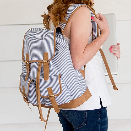 Navy & White Striped Backpack