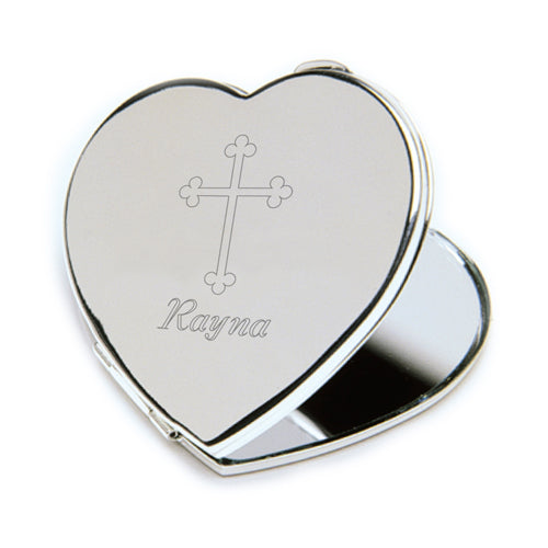 Compact Mirror with Engraved Cross