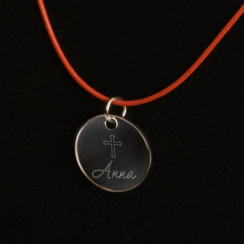 Inspirational Engraved Cross Pendant Leather Necklace