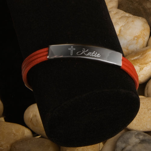 Personalized Leather Bracelet with Engraved Cross