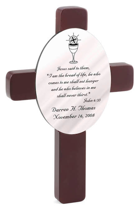Personalized Communion Cross with Bible Verse