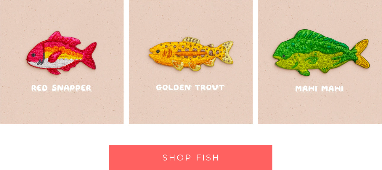 ACNH embroidered fish pins