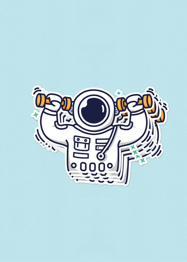 Cosmic Stranger Working Out Sticker