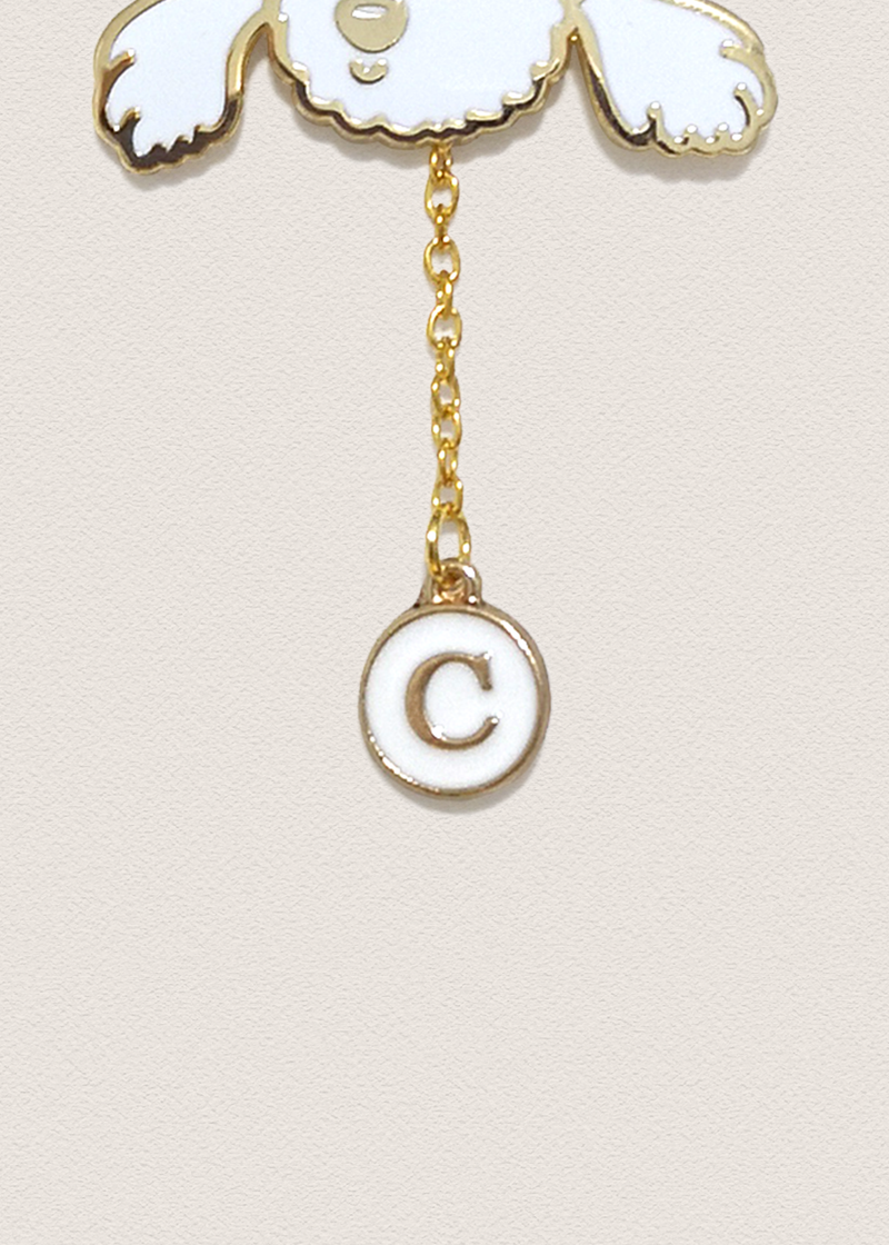 White Alphabet Pin Charm
