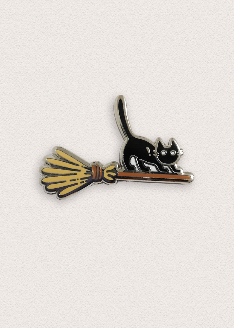 Halloween Witch Cat On Broomstick