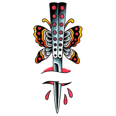 Butterfly Knife Temporary Tattoo - 2