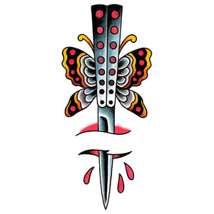 "Butterfly Knife Temporary Tattoo - 2"" x 4.5"""