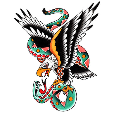 Eagle and Snake Temporary Tattoo - 3.5