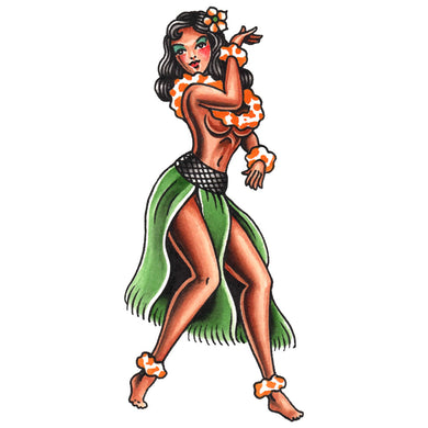 Hula Girl Temporary Tattoo - 2.5