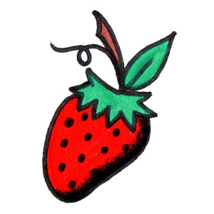 "Strawberry Temporary Tattoo - 1.5"" x 2"""