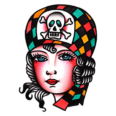 Pirate Girl Temporary Tattoo - 2.5