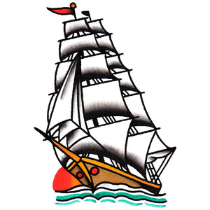 "Clipper Ship Temporary Tattoo - 2.5"" x 3.5"""