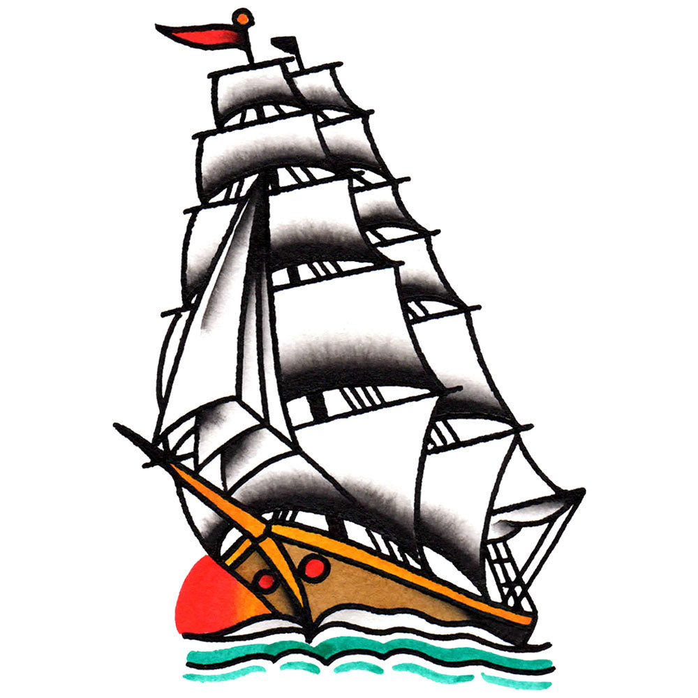 Clipper Ship Temporary Tattoo - 2.5