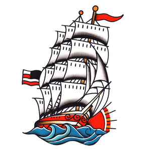 "Clipper Ship Temporary Tattoo - 3.5"" x 5"""