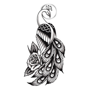 "Peacock Temporary Tattoo - 2.5"" x 5"""