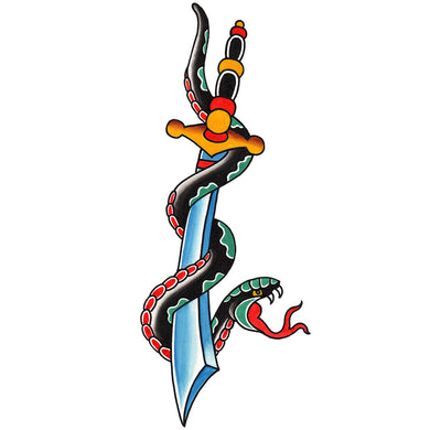 Snake and Dagger Temporary Tattoo - 2.5