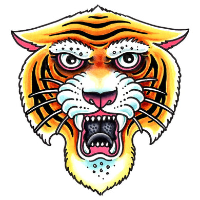 Tiger Head Temporary Tattoo - 3.5