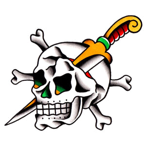 "Skull and Dagger Temporary Tattoo - 2.5"" x 3"""