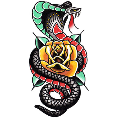 Cobra and Rose Temporary Tattoo - 2.5