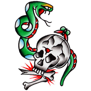 "Skull and Snake Temporary Tattoo - 3"" x 4"""