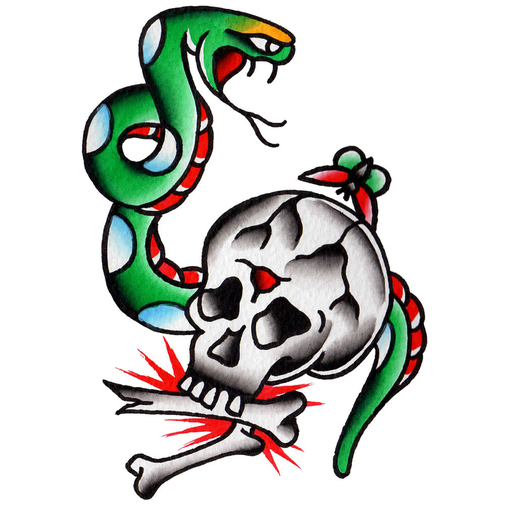 Skull and Snake Temporary Tattoo - 3