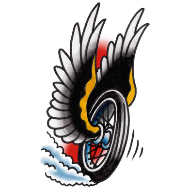 Wheel & Wings Temporary Tattoo - 2.5