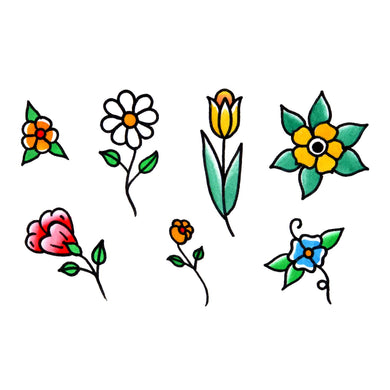 Flowers, 7 temporary tattoos on one sheet 3.5