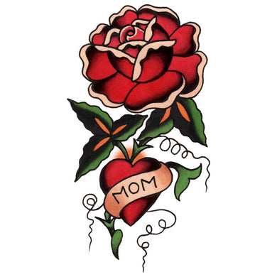 Mom Heart and Rose Temporary Tattoo - 2