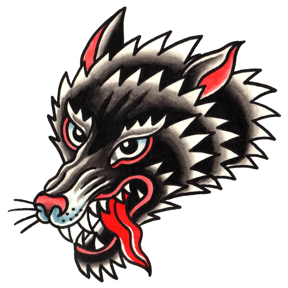 Wolf Head Temporary Tattoo - 3.5