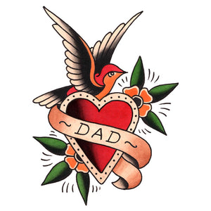 "Dad Heart and Sparrow Temporary Tattoo - 3"" x 4"""