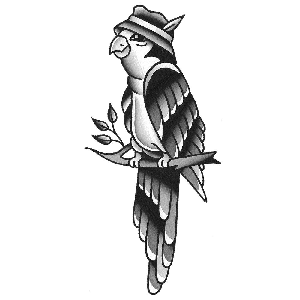 Fedora Parrot Temporary Tattoo - 2.5