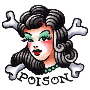 "Poison Girl Temporary Tattoo - 2.5"" x 2.5"""