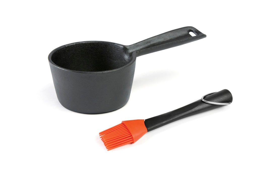 Cast Iron Sauce Pot & Basting Brush Set