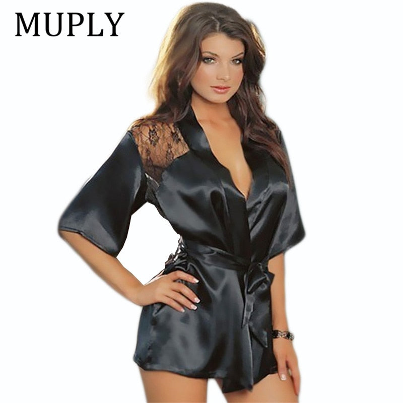 92065c5c6ec ... MUPLY New Hot Sexy Plus Size Satin Lace Black Kimono Intimate Sleepwear  ...