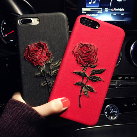 Embroidered Rose iPhone Case