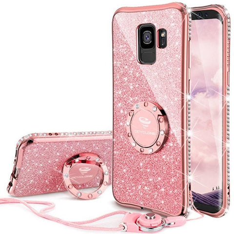 Samsung Galaxy S9, Galaxy S9 Plus Case Cover 360 Degree Kickstand Silicone Bling Glitter Soft