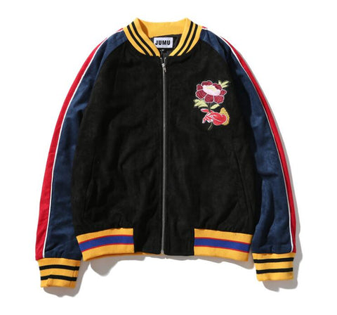 Rose in Hand Bomber Jacket