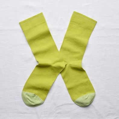 Neon Green Crew Sock by Bonne Maison