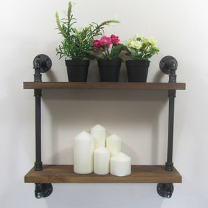 Industrial Iron Pipe Wall Mounted Shelf
