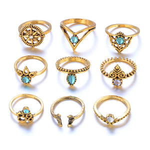 9 Piece Bohemian Midi Silver or Gold Rings Set
