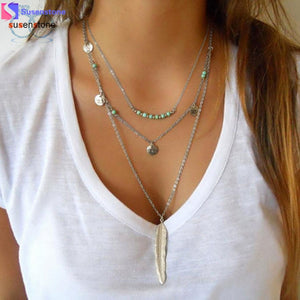 Bohemian Layered Feather Necklace