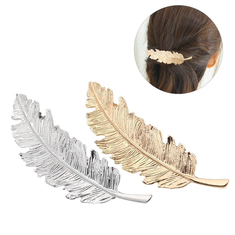 2 Piece Leaf / Feather Shaped Hair Clip