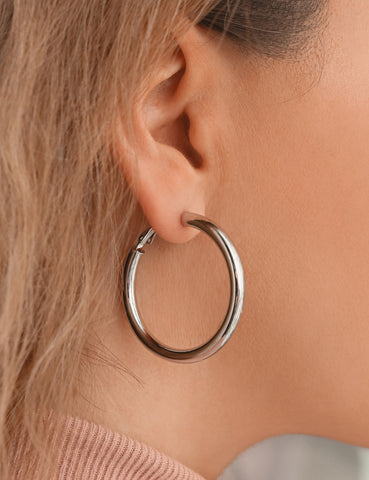 Rhodium Large Wide Hoops