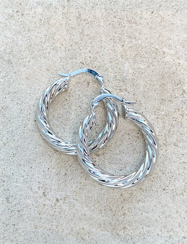 Rhodium Twister Earrings
