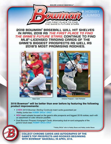 2018 Bowman JUMBO 4Box Half Case PYT #1