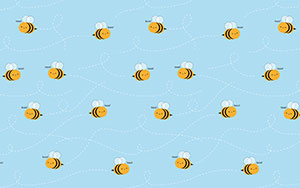 kawaii buzzy bees desktop wallpaper